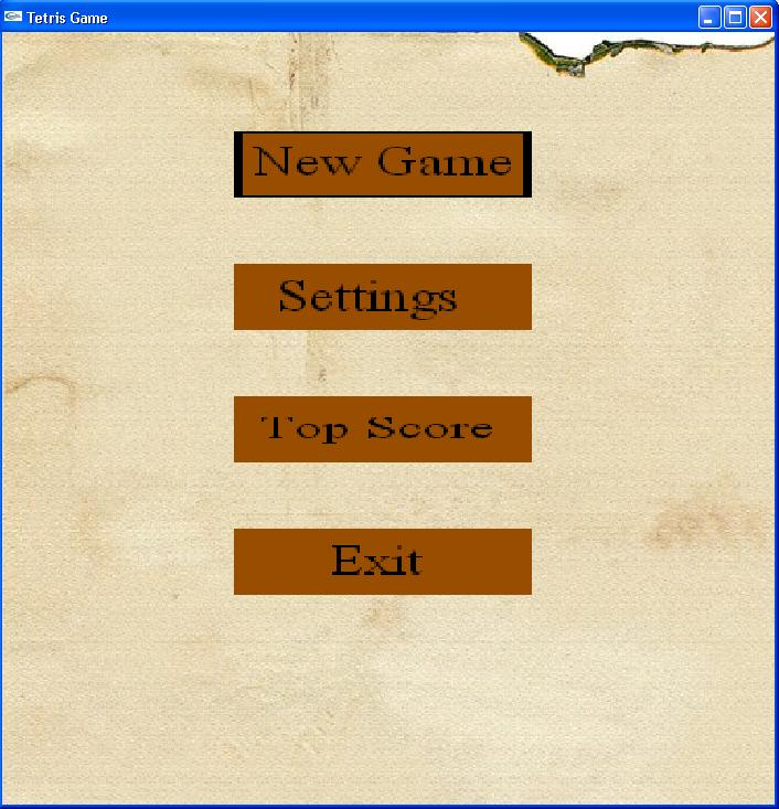 Fig.3 The main menu of the game.